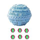 Waschbälle Kit,1 Groß Waschkugel für Waschmaschine, Öko und Bio Wäscheball & 6 Wäschekugel flusenfreie (Blau)