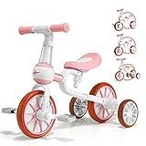 KORIMEFA 4 in 1 Laufräder Laufrad Kinderdreirad Dreirad Lauffahrrad Lauflernhilfe für Kinder ab 1 Jahre bis 4 Jahren (Rosa)