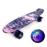 Roeam Skateboard Kinder ab 8 Jahre, Mini Cruiser Skateboard 22 Zoll mit Blinkenden LED-Rollen, Penny Board für Anfänger, Jungen, Mädchen