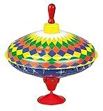 Lena 52225 Bolz Brummkreisel Multicolor 19 cm, Schwungkreisel aus Blech, klassischer Pumpkreisel, Blechkreisel mit farbenfrohen Motiv, Kreisel mit Standfuss, Spielzeugkreisel für Kinder ab 18m+, bunt