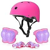 Kinder-Fahrradhelm-Schutzausrüstungs-Set für Kinder im Alter von 3–15 Jahren, verstellbare Ellenbogenschützer, Knieschützer und Handgelenkschoner, für Jungen und Mädchen, Inlineskating, Reitsport
