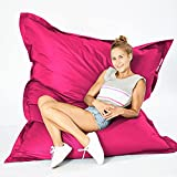 Green Bean © Square XXL Riesensitzsack 140x180 cm - 380L - Indoor & Outdoor - waschbarer Bezug mit Klett- und Reißverschluss, doppelt vernäht - Sitzsack Lounge Chair Sessel für Kinderzimmer - Pink