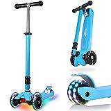 IMMEK Kinderroller 3 Räder Faltbar für Kinder Roller ab 3-14 Jahre Kleinkind Scooter für Jungen und Mädchen mit 3 PU LED Räders, Verstellbare Lenker und Maximale 50 KG (Blau)