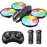 Tomzon Mini Drohne für Kinder, Bunte LED Drohne RC Quadrocopter Kopflos Modus Höhenlage, Fernbedienung 3D Flip, EIN-Taste-Rückgabe, 3 Geschwindigkeiten, Spielzeug für Jungen Mädchen Anfänger, 2 Akkus