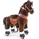 PonyCycle Offizielle Klassisch Modell U 2021 Reiten auf Pferd Spielzeug Plüsch Lauftier Dunkelbraunes Pferd mit Bremse und Ton für 3-5 Jahre Ux321