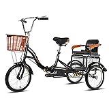 ZCXBHD 16 Zoll Zusammenklappbar 3 Rad Fahrrad mit Rücksitz Seniorenrad Lastenfahrrad Dreirad für Erwachsene mit Korb für Erwachsene und Senioren (Color : Black, Size : 16 Inch)