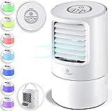 KESSER® 4in1 Mobile Klimaanlage Mini Klimagerät mit 7 Farben LED Farben | Ventilator | Wassertank | Timer | 3 Stufen | Ionisator Luftbefeuchter | Luftkühler | Klein Tragbare, Weiß