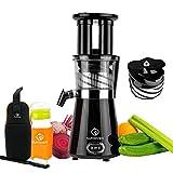 NUTRI-PRESS Slow Juicer Entsafter - BPA-frei | Elektrische Obst & Gemüse Saftpresse | BPA-Frei | Geringe Drehzahl nur 60 U/min - 350 Watt | Glas-Trinkflasche, Rezepte & Reinigungsbürste