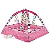Otherway Baby Spieldecke, Verstellbaren Spielbögen Krabbeldecke Spielmatte Activity Gym Bällebad Laufstallfunktion mit hängenden 5 Spielzeugen, 18 Ozeanbällen