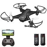 tech rc Drohne mit Kamera HD FPV RC Mini Drone mit 2 Akkus 2.4Ghz Ferngesteuerte Quadrocopter Anfänger APP Steuerung Foto Live Video Übertragung Handysteuerung 360° Flip Kameradrohne Kinder Spielzeug