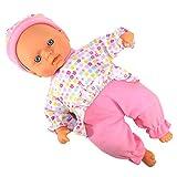 Sprechende Babypuppe mit Sound und weichen Körper, mit 8 Verschiedene Geräusche und Schlafaugen, ausziehbar, 30 cm groß, interaktive Puppe, Mädchen Babypuppe Weichkörper.