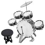 Luroze Kindertrommel, Pädagogisches Musikinstrument Schlagzeug, Jungen für Anfänger Baby(586-104 schwarz)