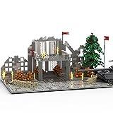 Xligo Militär Battle Haus Szene (Ohne Panzer), WW2 Militärszene Bürogebäude Schlacht Ruinen Architektur, Kompatibel mit Lego - 1427 Teile