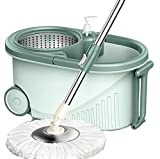 JiuXiuHeiShan-MY Mop Edelstahl 360 Spin Home Cleaning System Bodenwischer Mit Eimer Parkettreiniger, 2 Mikrofaserköpfe Ersatz