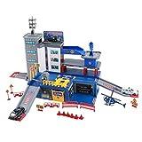 T TOOYFUL Spielzeuggarage für Kinder Parkgarage Parkhaus Spielzeug Garage mit Hubschrauber Polizeiauto - Stil-2