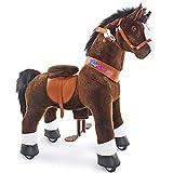PonyCycle Offizielles authentisches Pferd Kinderreiten auf Spielzeug Kinderroller (mit Bremse und Sound/ 97 cm Höhe/ U4 für Alter 4-9) Pony-Fahren schwarzen Pferd Stofftier Spielzeug Modell Ux421