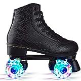 KENANLAN Wheel Rollschuhe,Roller Skates mit LED-Licht Double Line Skates 4 Wheels Two Line Skating Schuhe für Erwachsene Roller, Classic Roller, Rollschuhe für Kinder, Jugendliche und ErwachseneD