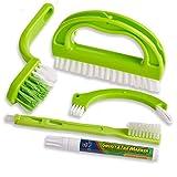 Foresight Grün Fugenbürste für Bad, Küche und Haushalt-Reinigt effektiv Fugenfliesen und entfernt Schimmel oberflächlich (4Brush Included + 1 White Grout Pen)