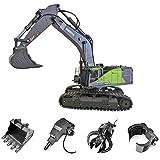 Sunbary 4 in 1 Ferngesteuertes Bagger, 22 Kanal 2.4Ghz RC Bagger mit Volle Funktion, 1:14 Baufahrzeug Spielzeug für Kinder und Erwachsene