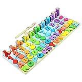 Dowoa Lernspielzeug Puzzles Kinder Angelspielzeug 5/6-in-1 Magnetische Montessori Holzspielzeug Zahlenform Sortieren Angeln Spiel für Kleinkinder Baby Aufklärung