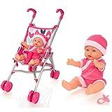 Molly Dolly My First Dolls Kinderwagen & Puppen-Set – Mädchen Spielzeug-Buggy – Baby-Puppen-Kinderwagen