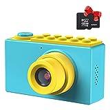 Kriogor Kinder Fotoapparat, Kids Camera Digitalkamera Videokamera mit 4X Digitaler Zoom/HD 1080/ 8 Megapixel/ 2 Zoll Bildschirm/ 32G TF Karte, Geschenke für Kinder (Blau)