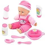 Nuheby Puppe Baby Junge Mädchen,Reborn Puppe Lebensecht mit Funktionen Soft Touch Inklusive 9 Puppen Zubehoer Rollenspiel Spielzeug für ab 3 4 5 6 Jahren (22.8 cm)