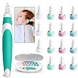 LATTCURE Ohrenreiniger Ohrenschmalz Entferner, Q-Grips Ohrenreiniger mit 16 Abwaschbaren Ersatzköpfen, Q-Twist-Ohrenreiniger, 360 Grad Spirale Silikon,Sicher und Weich für Kinder und Erwachsene
