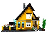 Modbrix Bausteine Haus Einfamilienhaus mit Garten, Konstruktionsspielzeug mit 458 Klemmbausteinen