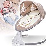 Babyschaukel (vollautomatisch 240V) mit Baldachin Musik über USB Anschluss 12 Melodien 5 Schaukelintensitäten Timerfunktion und Fernbedienung (Melange Beige)
