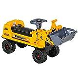 HOMCOM Sitzbagger für Kinder Rutsch Auto Sandspielzeug Rutscherfahrzeug für Kinder 2-3 Jahre PP-Kunststoff ABS Gelb+Schwarz+Grau 70 x 26 x 37 cm