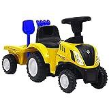 vidaXL Kindertraktor mit Anhänger Trettraktor Tretauto Kinder Traktor Kinderfahrzeug Kinderauto Aufsitztraktor für 12-36 Monate Gelb