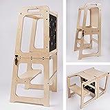 Montessori Lernturm Küchenhelfer 2 in 1, Lernturm ab 1 Jahr, Helper Turm Tisch & Stuhl mit Tafel, Küchenhelfer klappbar (natur lackiert)