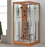 XXL Luxus LED Dampfdusche+Infrarotsauna Kombi Infrarot Sauna Wärmekabine Radio 100x100cm