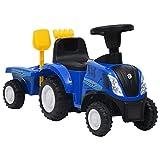 vidaXL Kindertraktor mit Anhänger Trettraktor Tretauto Kinder Traktor Kinderfahrzeug Kinderauto Aufsitztraktor für 12-36 Monate Blau