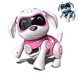 RCTecnic Roboterhund für Kinder Rock Puppy Interaktives Spielzeug mit Emotionen und Bewegung, Bellen und Spielen mit Knochen, Akku und USB-Kabel (Rosa)