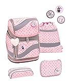 Belmil ergonomischer Schulrucksack Schulranzen Set 5 -teilig für Mädchen 1-4 Klasse Grundschule mit Patch Set/Brustgurt, Hüftgurt/Magnetverschluss/Grau, Pink (405-51 Pink Dots)