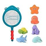 Pulchram 7 Stück Badespielzeug Set,Baby Bath Toys, Badespielzeug mit Fischernetz,Badewannenspielzeug für Kinder ab 1 2 3 Jahre
