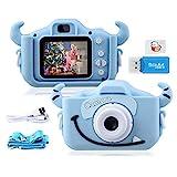 """Kinder Kamera, 2.0""""Display 1080PHD 20MP GREPRO Digitalkamera für 4 6 7 10 14 Jahre alt mädchen und jungen, Anti-Drop Fotoapparat Kinder für Geburtstagsspielzeug Geschenke mit Weiche Silikonhülle(Blau)"""