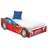 Alcube Autobett Kinder Burning Flame 160x80 cm - Auto Kinderbett mit Matratze, Lattenrost & Rausfallschutz - Holz Bett für Kinder ab 2 bis 3 Jahren - Inklusive Matratze & Matratzenbezug - 80x160 cm