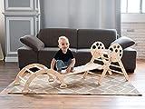 Wood And Hearts Montessori Holzspielzeug für Kleinkinder, Set mit 3 Artikeln: verstellbares Kletterdreieck, Kletterbogen und Leiter, Rutschbrett für aktive Spielspiele (Mini-Größe, Naturholz)