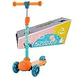 Sumeber Roller Kinder Dreiradscooter mit PU LED Leuchtenden Räder,einstellbaren Höhe und Doppel-Hinterrad Big Rädern Kinderscooter für Mädchen und Jungen 3-12 Jahre alt (Orange)