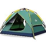 HEWOLF Wurfzelt Automatisches Pop Up Zelt 3-4 Personen Camping Zelt Großes Leichtes Kuppelzelt Familienzelt Wasserdicht Doppelschicht Firstzelte Outdoor Zelte mit Tragetasche Armeegrün
