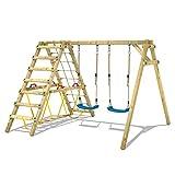 WICKEY Kinderschaukel Schaukelgestell Smart Hike blau, Schaukel mit Kletteranbau und Schwebebalken, Doppelschaukel, Holzschaukel