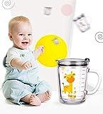 Soleiler Trinkglas, mit Tier Motiven Kindermilchbecher mit Strohhalm, Kinder-Milchbecher mit Skala 350 ML Kinderglas spülmaschinengeeignet(Giraffe)