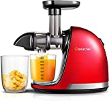 AMZCHEF Slow Juicer, BPA-Free Juicer, Vegetables and Fruit, Professional Juicer with Quiet Motor, Reverse Function, Juice Jug and Cleaning Brush, 150 Watt,red