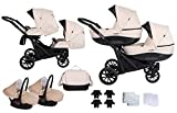 Booster Kinderwagen Zwillingswagen Geschwisterwagen by Lux4kids Cream 2in1 ohne Babyschale