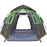 HEWOLF Kuppelzelt 3-4 Personen Campingzelt Wasserdicht Pop Up Zelt UV-Schutz Sekundenzelt Sechseckiges Doppelschicht Firstzelte Familienzelt 4 Saison für Camping Angeln Outdoor Zelt Grün