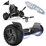 FUNDOT Hoverboards with seat,All Terrain Hoverboards with hoverkart ,8.5 inch Self Balancing Scooter go Kart,Off-Road Hoverboards with Bluetooth Speaker,LED,Powerful Motor,Gift for Children Adults