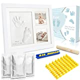 Dusor Baby Handabdruck und Fußabdruck Set, Gipsabdruck Baby Hand und Fuß mit Buchstaben Set und Bilderrahmen, Kreativset für junge Eltern, Geschenke zur Geburt, Erinnerungen für die Ewigkeit